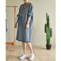 Dress Autumn 2020 Fog blue M, L Mid length dress singleton  Long sleeves commute stand collar Elastic waist Solid color zipper other routine Natural products literature
