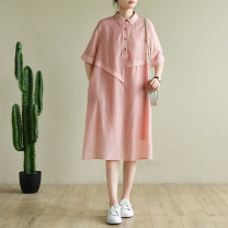 Dress Summer 2020 Pink M, L Mid length dress Short sleeve commute Polo collar Loose waist Solid color Single breasted other routine Others Type A Natural products literature More than 95%