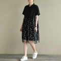 Dress Summer of 2019 Black Plaid mesh M, L Mid length dress singleton  Short sleeve commute Loose waist lattice Single breasted routine Others Type H Natural products literature More than 95% polyester fiber