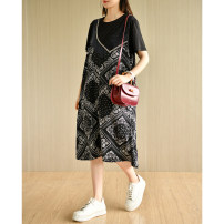 Dress Summer 2021 Black printing M,L,XL,2XL longuette Two piece set Short sleeve commute Crew neck Loose waist Dot Single breasted other routine Others Type A Natural products literature Chiffon polyester fiber