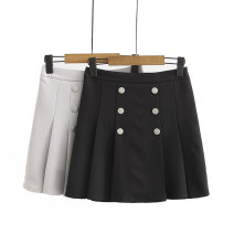 Women's large Summer 2020 Black, off white 2XL (120-145 kg recommended), 3XL (145-160 kg recommended), 4XL (165-180 kg recommended), 5XL (185-210 kg recommended) skirt singleton  commute easy thin Solid color Korean version Others, polyester Three dimensional cutting Button Short skirt Pleated skirt