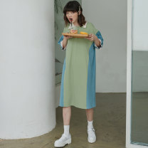 Dress Summer of 2019 Avocado, peach S,M,L Mid length dress singleton  Short sleeve commute Polo collar other puff sleeve 18-24 years old Type H Other / other Simplicity C513 81% (inclusive) - 90% (inclusive) cotton
