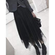 skirt Spring 2021 L [recommended 80-105 kg], XL [recommended 100-130 kg], 2XL [recommended 130-160 kg], 3XL [recommended 160-190 kg], 4XL [recommended 190-220 kg] black Mid length dress Versatile High waist Irregular Solid color Type A other Pleats, gauze, stitching