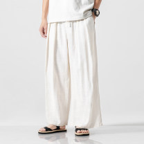 Casual pants Others Youth fashion M,L,XL,2XL,3XL,4XL,5XL thin trousers Other leisure Straight cylinder No bullet summer Large size Japanese Retro 2019 Medium low back horn Haren pants Inlay / stick washing Solid color hemp Hemp cotton