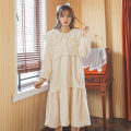 Nightdress Other / other Pink, beige Average size Sweet Long sleeves Leisure home longuette winter Solid color youth Small lapel lace Plush
