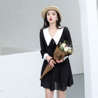 Dress Spring 2021 black XS,S,M,L,XL Short skirt singleton  Long sleeves Sweet Doll Collar Others Type A Chicory J2050-2 Ruili