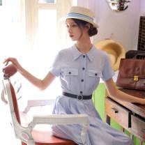 Dress Summer 2021 sky blue XS,S,M,L,XL Mid length dress Short sleeve commute V-neck A-line skirt Others Type A Chicory Retro