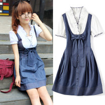 Dress Summer 2021 blue S,M,L,XL Middle-skirt Fake two pieces Short sleeve Sweet V-neck High waist Solid color Socket A-line skirt routine Others 18-24 years old Type A Duo Yao Bowknot, tuck, stitching, zipper 51% (inclusive) - 70% (inclusive) Denim cotton college