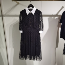Dress Summer 2021 black 160/84A,165/88A,170/92A Mid length dress singleton  elbow sleeve Sweet square neck middle-waisted Dot zipper A-line skirt routine Others Type X SCOFIELD Button, stitching SFOWB2426Q More than 95% Cellulose acetate
