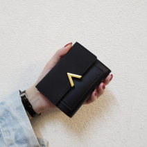 wallet Short Wallet PU Other / other brand new Japan and South Korea female Cover type Solid color Horizontal style youth Color contrast synthetic leather Frosting