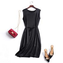 Dress Summer 2021 black Chest 100cm Mid length dress singleton  Sleeveless commute Crew neck Loose waist One pace skirt Simplicity Silk and satin silk