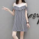 Dress Summer 2020 wathet S,M,L longuette singleton  Short sleeve commute Crew neck High waist lattice Socket A-line skirt routine 18-24 years old Type A Splicing polyester fiber