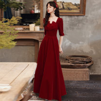Dress / evening wear Weddings, adulthood parties, company annual meetings, daily appointments XS S M L XL XXL fashion longuette middle-waisted Winter 2020 A-line skirt square neck zipper 18-25 years old Long sleeves Nail bead Solid color The story of marriage routine Polyester 80% other 20% other