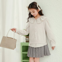 suit Other / other Off white three piece set 130cm,140cm,150cm,160cm spring Korean version Long sleeve + skirt 3 pieces routine There are models in the real shooting Socket Solid color Pure cotton (100% cotton content) Class B Cotton 60% polyester 30% polyurethane elastic fiber (spandex) 10%