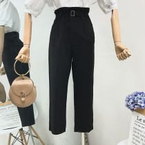 Casual pants White red blue black S M L XL Summer of 2018 trousers High waist Versatile routine 18-24 years old 31% (inclusive) - 50% (inclusive) other