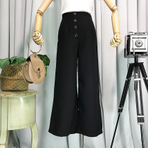 Casual pants Black apricot S M Summer of 2018 Ninth pants Wide leg pants Natural waist commute routine 18-24 years old other Korean version
