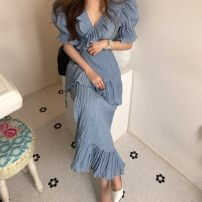 Dress Summer 2020 White, blue S,M,L longuette singleton  Short sleeve commute V-neck High waist Solid color other other puff sleeve Others 18-24 years old Korean version 31% (inclusive) - 50% (inclusive) other other