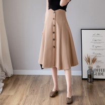 skirt Spring 2021 S,M,L,XL Black, apricot, khaki longuette High waist A-line skirt Solid color Type A 18-24 years old 81% (inclusive) - 90% (inclusive) other polyester fiber Button