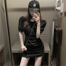 Dress Spring 2021 Gray, black Average size Short skirt singleton  Short sleeve commute Crew neck middle-waisted Solid color Socket Ruffle Skirt other Others 18-24 years old Type A Korean version Lotus leaf edge GW - CO0589 More than 95% other cotton