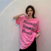 T-shirt White, blue, black, pink Average size Summer 2021 Short sleeve Crew neck Self cultivation Regular routine commute cotton 96% and above 18-24 years old Korean version other letter GW-LA628