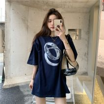 T-shirt Red, Navy Average size Spring 2021 Crew neck easy Regular routine commute other 96% and above 18-24 years old Korean version originality Cartoon animation GW-XM5177 Sequins