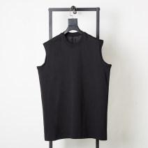 Vest / vest Youth fashion Others S,M,L,XL black Other leisure standard Sweat vest thin Four seasons Crew neck teenagers 2020 Simplicity in Europe and America Solid color Socket other cotton Make old Arrest line nothing Woollen cloth Mingji thread patch bag More than 95%
