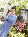 Dress Spring 2021 Lotus, blue Average size Mid length dress Short sleeve Sweet High waist Big swing 18-24 years old