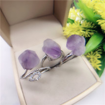Ring / ring Natural crystal / semi precious stone RMB 1.00-9.99 Other / other Amethyst Cluster Ring brand new goods in stock Original design female Fresh out of the oven other Love / water drop / bell amethyst