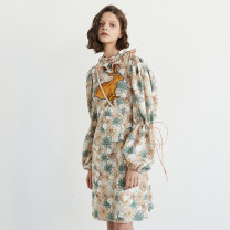 Dress Winter 2020 Color in the picture - scheduled for delivery in about 30 days S,M,L,XL longuette singleton  Long sleeves commute stand collar middle-waisted Decor Socket A-line skirt routine 25-29 years old Type A Smoke like printing XUNRUO00288 polyester fiber