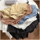 skirt Summer 2020 S, M Black, white, apricot, blue, meat powder Versatile Solid color Type A 18-24 years old 31% (inclusive) - 50% (inclusive) polyester fiber