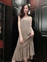 Dress Spring of 2019 S,M,L Mid length dress singleton  Sleeveless commute V-neck Loose waist Solid color Socket A-line skirt routine camisole Type A Korean version 81% (inclusive) - 90% (inclusive) Chiffon cotton