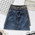 skirt Spring 2021 S,M,L,XL Blue, gray Short skirt commute High waist A-line skirt Solid color Type A 91% (inclusive) - 95% (inclusive) Denim cotton Pockets, rags, buttons, zippers Korean version