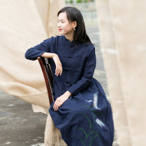 Dress Autumn of 2018 Navy Blue Average size longuette singleton  Long sleeves commute stand collar Loose waist Hand painted Single breasted Big swing routine Others Type A She fancy dancing / he Fansi Retro Pocket, button 51% (inclusive) - 70% (inclusive) hemp