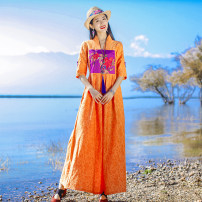 Dress Summer 2021 Orange S,M,L,XL,2XL longuette singleton  Short sleeve commute Half open collar middle-waisted Solid color Socket other other Others 35-39 years old Type X ethnic style More than 95% other polyester fiber
