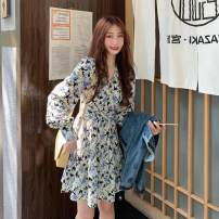 Dress Autumn 2020 Floral skirt piece, denim jacket piece S. M, l, average size Middle-skirt singleton  Long sleeves commute V-neck High waist Broken flowers Socket A-line skirt pagoda sleeve 18-24 years old Type A Korean version Lotus leaf edge