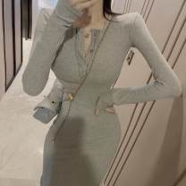 Dress Autumn 2020 Gray, black Average size Mid length dress singleton  Long sleeves commute other Decor Three buttons other routine 18-24 years old Type A Korean version Button 7.30C