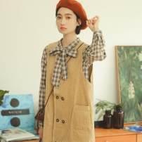 Dress Autumn of 2019 Khaki Skirt , Coffee Plaid Shirt Average size Mid length dress singleton  Sleeveless commute High waist Solid color straps 18-24 years old Shu life Korean version More than 95% cotton