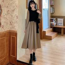 Lace / Chiffon Autumn 2020 Khaki, blue grey S,M,L Long sleeves commute Fake two pieces Lotus leaf collar routine 18-24 years old Splicing, bandage Korean version 30% and below