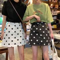 skirt Summer of 2019 S,M,L White, black Short skirt commute High waist A-line skirt Dot Type A 18-24 years old 31% (inclusive) - 50% (inclusive) Korean version