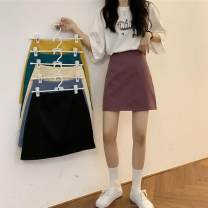 Women's large Summer 2020 Purple, blue, black Big L, big XL, big XXL, m, 3XL, 4XL commute Solid color Korean version 88057# Other / other 18-24 years old Short skirt