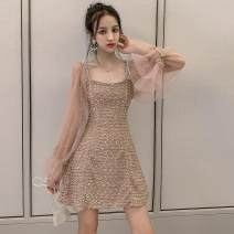 Dress Winter of 2019 Apricot, black, rubber powder S,M,L,XL Short skirt singleton  Long sleeves commute square neck High waist Solid color other other Others 18-24 years old Type H Other / other Korean version 31% (inclusive) - 50% (inclusive)