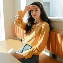 shirt Ginger, white S,M,L Autumn of 2019 cotton 96% and above Long sleeves commute Regular other Single row multi button routine Solid color 18-24 years old High waist type Shu life literature Chiffon