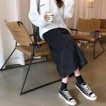 skirt Autumn 2020 S,M,L,XL black Mid length dress commute High waist Denim skirt Solid color Type A 18-24 years old 71% (inclusive) - 80% (inclusive) Denim Other / other Korean version