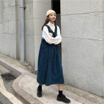 Dress Autumn 2020 Western style green strap skirt, Tibetan blue strap skirt, white high collar bottom Average size Mid length dress singleton  Sleeveless commute square neck Loose waist Solid color Socket A-line skirt Others 18-24 years old Type H Uniday Korean version cotton