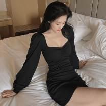Dress Autumn 2020 black Average size Short skirt singleton  Long sleeves commute 18-24 years old Type A Korean version