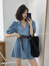 Dress Summer 2020 blue Average size Short skirt singleton  Short sleeve commute V-neck High waist Solid color Socket A-line skirt puff sleeve Others Type A Korean version zipper 30% and below other other