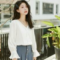 shirt White, yellow S,M,L Autumn of 2019 cotton 96% and above Long sleeves commute Regular V-neck other routine Solid color 18-24 years old Straight cylinder Shu life Korean version eight thousand four hundred and eighty-six # polyester cotton
