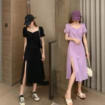 Women's large Summer 2020 Purple, black commute thin Short sleeve Simplicity square neck polyester Other / other 18-24 years old Medium length