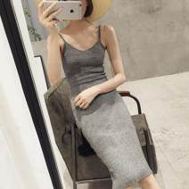 Dress Spring 2020 Dark grey, black Average size Miniskirt singleton  Sleeveless commute Crew neck Loose waist Solid color Socket One pace skirt camisole 18-24 years old Type A Other / other Korean version XJ304 knitting polyester fiber
