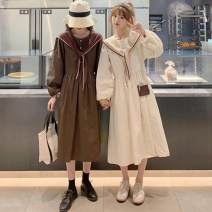 Lace / Chiffon Autumn 2020 S,M,L Long sleeves commute singleton  Crew neck Solid color puff sleeve 18-24 years old Button Korean version 30% and below